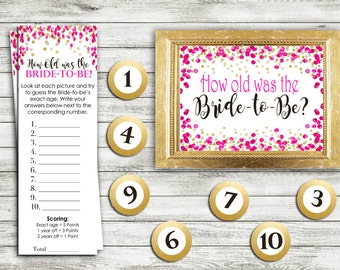 How Old Was the Bride - Bridal Shower Game Download - HOT PINK and GOLD Confetti Instant Printable Digital Download - diy Bridal Printables