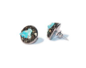 Raw Pyrite Studs Bohemian Jewelry Turquoise Earrings Raw Stones Artisan Earrings Simple Eaveryday Studs Gemstone Earrings Nuggets Studs Gift