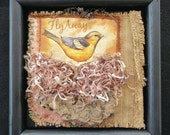 Bird Nest Art Quilt, Framed Fiber Art, Bird Lover Gift, 3-Dimensional Quilt, Wall Art Quilt, Home Decor, Black Wood Frame, 10x10