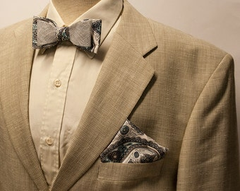 Gift set for gentlemen - elegant signature bow tie and pocket square