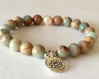 Lotus Flower Bracelet, Yoga Bracelet, Aqua Terra Jasper, Bohemian Bracelet