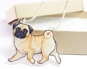 Fawn Pug Acrylic Dog Necklace