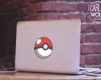 Pokemon Go Pokeball Macbook Decal,Macbook Removable Decal, Macbook Peel and Stick decal, Removable laptop Sticker, Pokeball Sticker MD043