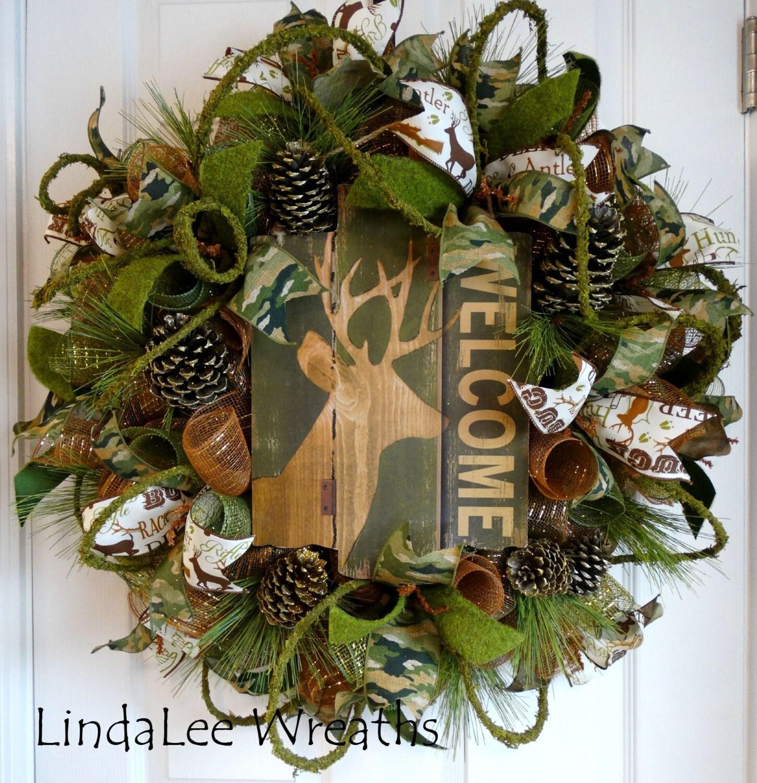 Sale 155 Wreath Welcome Wreath Camouflage Wreath Deco