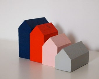 Four Small Handmade Wooden Houses