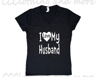 Womens Shirt, Womens Tshirts,I Love My Husband,Husband shirts,Womens Tshirt, V-Neck,Ladies Tee, Pink,Gray,Purple,Red,White.Black,Top,Tshirts