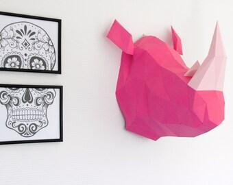 Trophée animal en papier. Sculpture Rhinocéros en KIT DIY. Rhino.