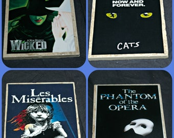 Broadway Play Coasters -  Les Miserables - Phantom of the Opera - Wicked the Musical, Cats the Musical - Broadway Play Gifts - Opera Gifts