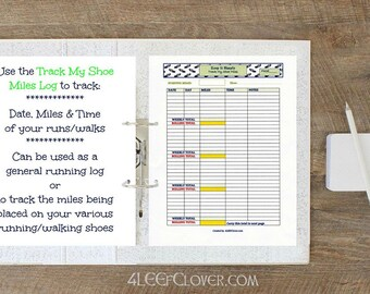 Printable Running Log Running Journal Track My Shoe Miles