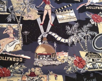 Robert Kaufman fabric by the yard. Hollywood. Movie theme. RC-2549.
