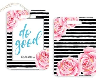 DG Delta Gamma Striped Floral Motto Sorority Luggage Tag