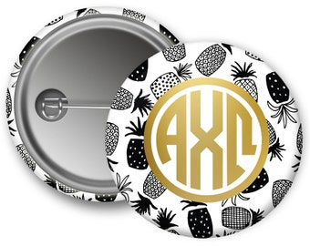 "AXO Alpha Chi Omega Faux Gold Foil Pineapple Single or Bulk 2.25"" Pinback Button"