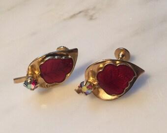 Vintahe gold tone autumn leaf earrings with red aurora borealis rhinestone