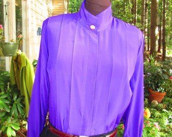 Vintage Anne Klein royal purple blouse. Size 10. 100% polyester. Stunning!