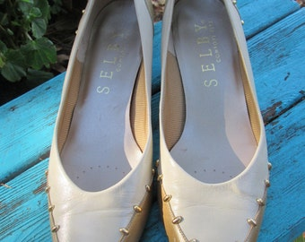 Vintage like new Selby beige and gold leather with gold studs low heeled shoes. Size 8 1/2 M. Made in USA. Leather sole.