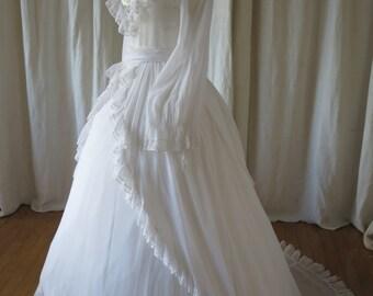 Beautiful Vintage Bernard foong Wedding Dress- Hand Painted Bodice