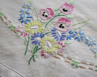 Pretty Vintage Tea Cosy- Floral Hand Embroidery