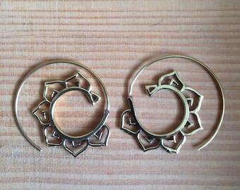 Lotus Flower Hoop Earrings - Shanti Hoops - Brass