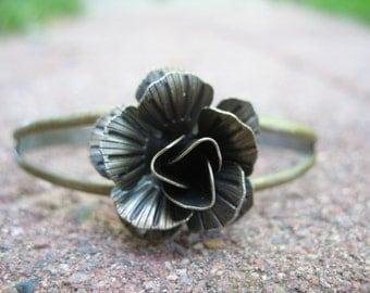 Bronze Rose cuff bracelet