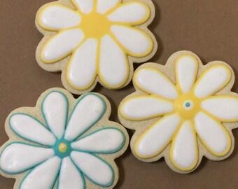1 Dozen assorted flower cookies