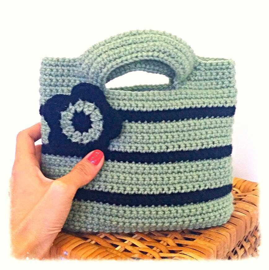 Crochet Small Bag : small crochet tote handcarry bag/purse handbag by coffeenstitch