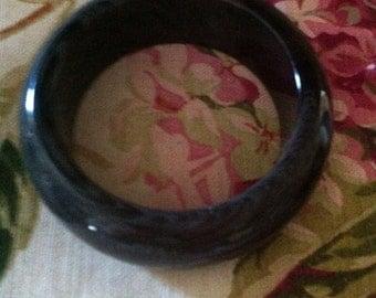 Vintage Bangle Lucite Charcoal Grey Multi Swirl