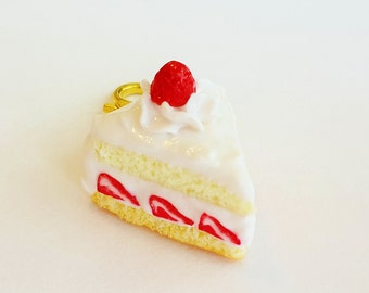 Strawberry Shortcake Charm - Strawberry Cake Necklace -  Polymer Clay Strawberry Cake Charm - Miniature Food Jewelry Cake - Cake Necklace