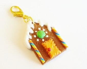 Handmade Gingerbread House Charm - Polymer Clay Food Gingerbread House - Miniature Food Jewelry - Christmas Jewelry Charm