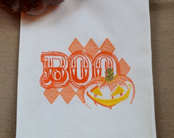 Embroidered Towel, Pumpkin Harlequin, Shipping Included!
