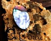 TALVERA : bague en cuivre émaillé, blanche veinée de noir