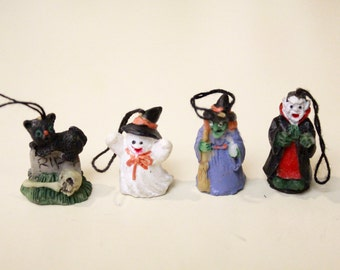 Set of 4 Vintage Halloween Ornaments/ Cat, Ghost, Witch and Vampire