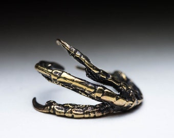 Crow Claw Ring, Raven Claw, brass, little finger ring, adjustable size (12-14 mm / US 0.5-3), handmade