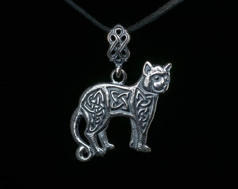 Celtic Cat Pendant, silver-plated brass, handmade ..... Celtic Knot