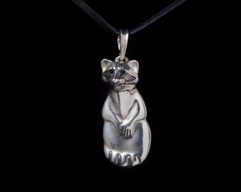 Raccoon Pendant, sterling silver, handmade