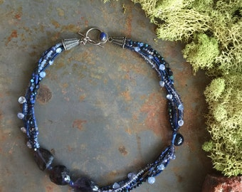 Multi Stranded Blue Iolite Necklace