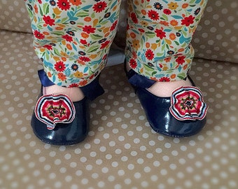 Navy Blue Patent Leather Shoes for Dolls