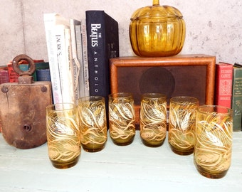 Set of 6 Amber Glasses 70s Harvest Wheat Gold Glass Tumblers