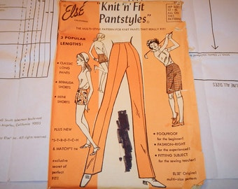 Else' Stretch & Match Vintage 1971 Pants Pattern Knit N Fit Pantstyles  Size 32-46