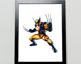 Wolverine, X-Men, Marvel, Watercolor Print, Wall Art, Superhero, Poster, Print, Home Decor, Illustration