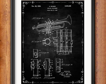 Patent Print Selmer Trumpet Musical Instrument Musician Gift Selmer Trumpet Poster Music Decor Music Gifts for Musician Blueprint 1035