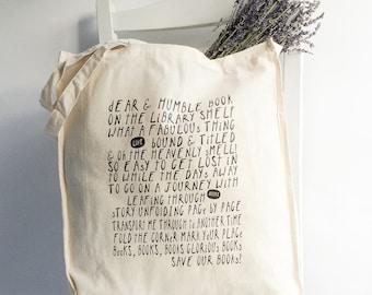 Cotton book tote - 'Glorious Books' original verse hand printed design Reusable Tote / Book Bag / Market Tote / Shopper Bag