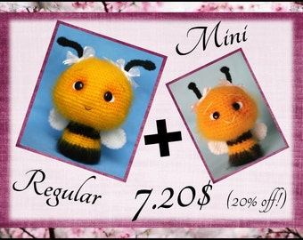Super deal! Two Different Sized Fuzzy Bee Patterns, 20% off. (Crochet Pattern Deal) PDF