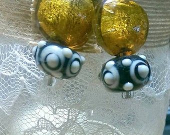 Golden Glass and Lampwork Earrings