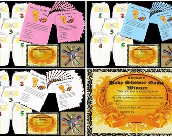 Baby Shower game Dirty nappies game for baby girl,boy,neutral with 10 player sheets first class post