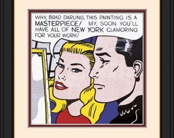 Masterpiece, 1962 by Roy Lichtenstein Pop Art Custom Made Picture Frame  Double Mat