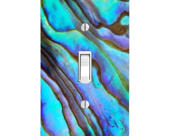 Home Decor Light Switch Cover-Printed Abalone Image-Housewarming-Lighting-Wall Decor-Kitchen Decor-Bathroom Decor-Double Light Switch-Triple