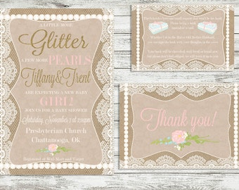 Shabby Chic Baby Shower Invitation Pack
