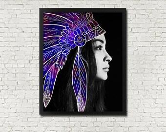 Tribal Feather Headdress PRINTABLE Art Instant Download Digital Poster Wall Print Woman Portrait Simple Modern Minimalist Feathers