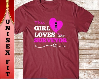 This Girl Loves her Surveyor T Shirt.  Funny Gift for Wife or Girlfriend