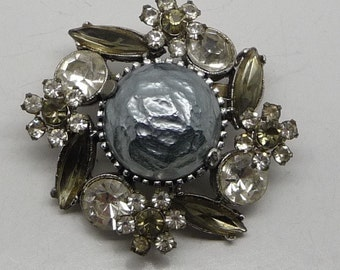 CLEARANCE! 30% OFF! Unique Vintage Silver Tone Rhinestone and Cabochon Brooch